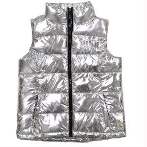 Pink | Silver Metallic Puffer Vest